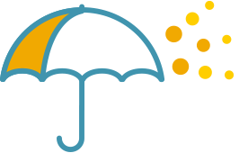 Insurance coverage umbrella icon